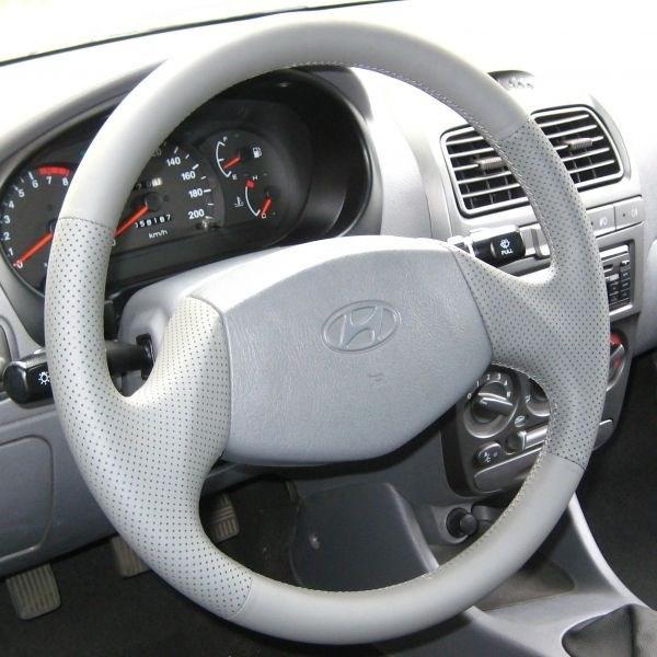 Оплетка на руль из натуральной кожи Hyundai Accent без подушки безопасности - фото 10901
