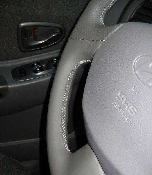 Оплетка на руль из натуральной кожи Hyundai Accent с подушкой безопасности - фото 10912
