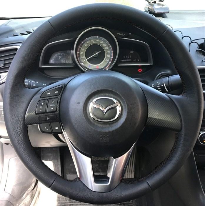 Оплетка на руль из натуральной кожи Mazda 3-III 2013-2016 - фото 10929
