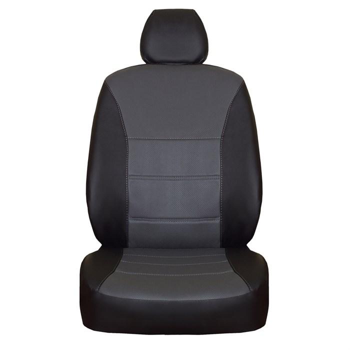 фото черно-серых чехлов из экокожи на форд фокус 2