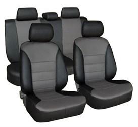 Черно-серые автомобильные чехлы из экокожи для Ford Kuga 2 - фото 11929