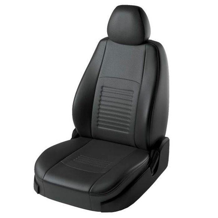 Черные чехлы Lord Autofashion из экокожи на Kia Rio 2 седан - фото
