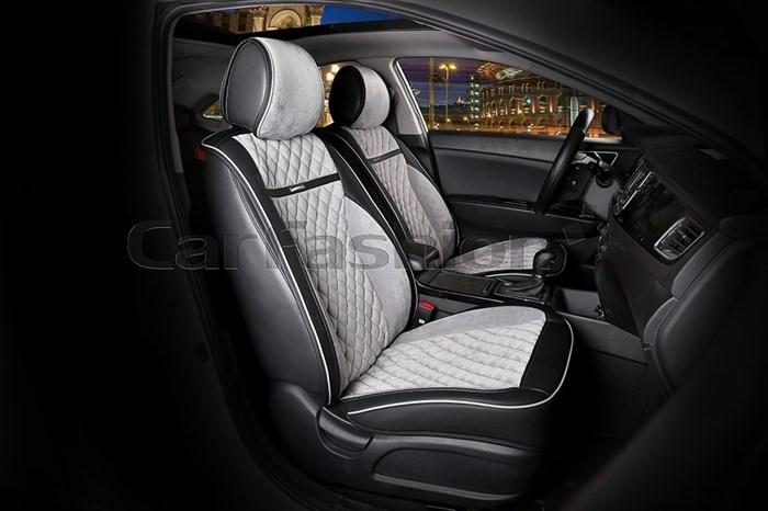 Накидки на передние сиденья «BARCELONA» черный-серый - фото
