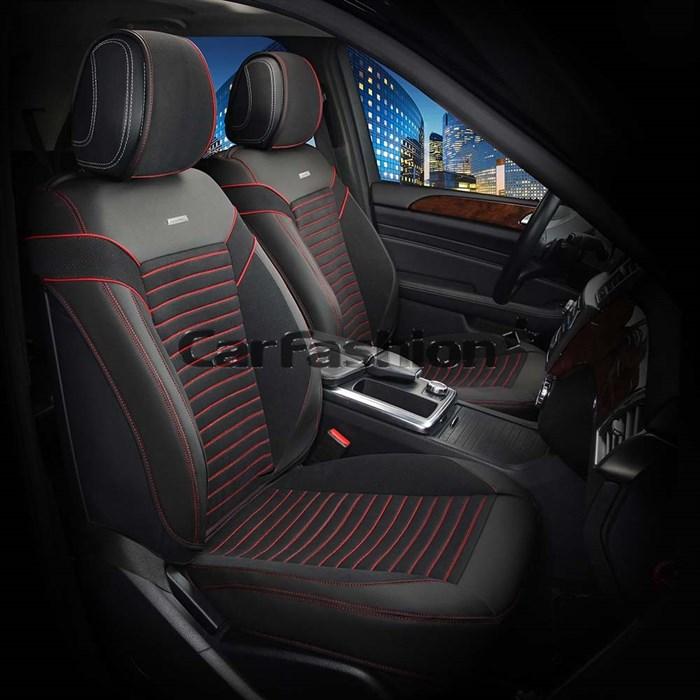 Накидки на передние сиденья Chester черный-красный - фото