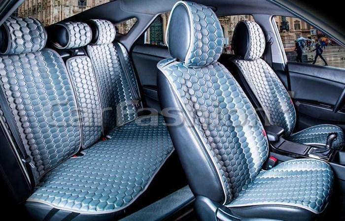Комплект серых накидок на сиденья CARBON PLUS - фото