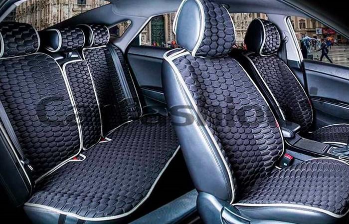 Комплект черно-серых накидок на сиденья CARBON PLUS - фото