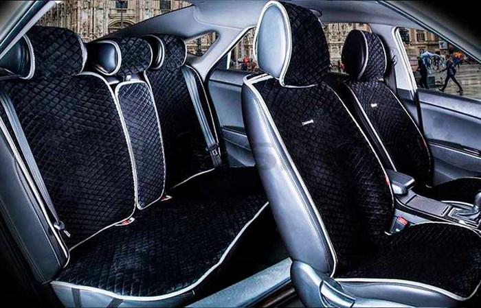 Комплект черно-серых накидок на сиденья CITY PLUS - фото