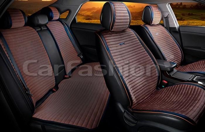 Комплект коричнево-черных накидок на сиденья MONACO PLUS - фото