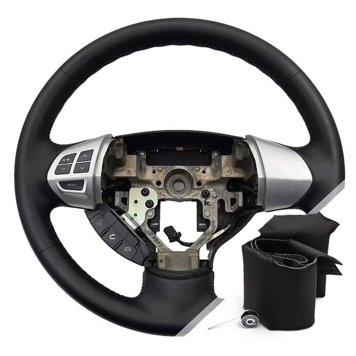 Оплетка на руль Митсубиси Паджеро Спорт 2 для замены кожи - фото