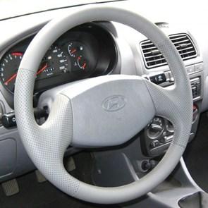 Оплетка на руль из натуральной кожи Hyundai Accent без подушки безопасности