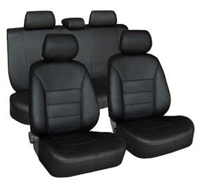 черные чехлы из экокожи на Toyota Corolla Е150 - фото