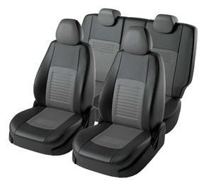 черно-серые чехлы Lord AutoFashion из экокожи на Hyundai Accent - фото