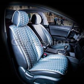 серые накидки CARBON на 2 передних сидения - фото