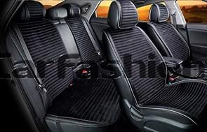 Комплект черно-серых накидок на сиденья MONACO PLUS - фото