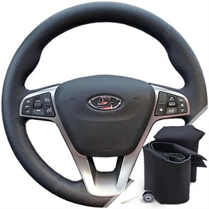 Оплетка на руль для Лада Xray (2018-2021) черная нить - фото