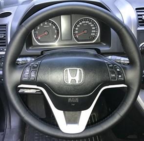 Оплетка на руль из натуральной кожи Honda CR-V III 2007-2012 г.в. (черная)