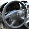 Оплетка на руль из натуральной кожи Toyota Avensis II 2003-2009 г.в. (черная) - фото 10278