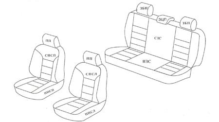 схема черных чехлов для Рено Логан 1