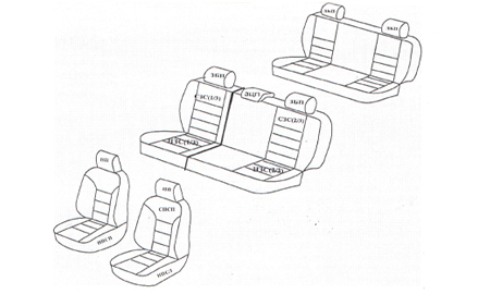 Схема комплектации черно-серых чехлов из экокожи на Лада Ларгус 7 мест