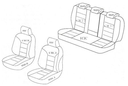 Схема комплектации черных чехлов из экокожи на шкода рапид