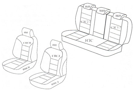 Схема чехлов из экокожи на Мицубиси Лансер 9