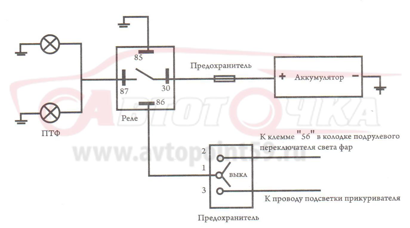 Схема подключения птф калина фото 352